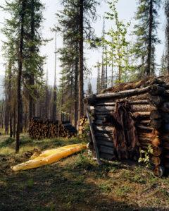 Bearskin and canoe